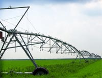 Irrigation machine in field