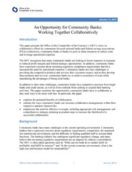 An Opportunity for Community Banks: Working Together Collaboratively Cover Image