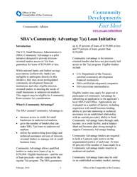 Community Affairs Fact Sheet: February 2016 Cover Image