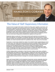Hamilton's Corner The Value of 'Soft' Supervisory Information cover
