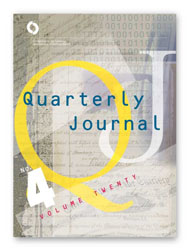 Quarterly Journal Volume 20 No. 4 Cover Image