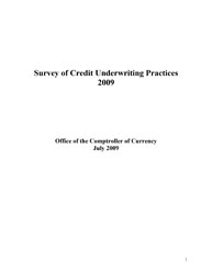 Survey of Credit Underwriting Practices 2009 Cover Image